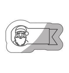 Sticker silhouette ribbon with face cartoon santa vector
