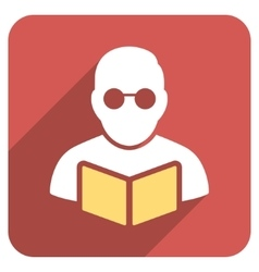 Student Reading Book Flat Rounded Square Icon with vector