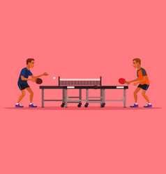 Two man characters playing tennis vector