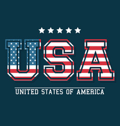 usa lettering united states of america flag design vector image
