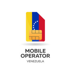 Venezuela mobile operator sim card with flag vector