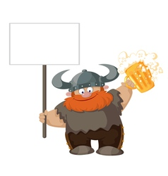 viking with blank sign and beer vector image
