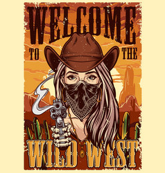 Wild west colorful vintage poster vector