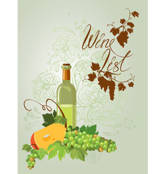 wine bottle cheese and green grapes and leaves on vector image