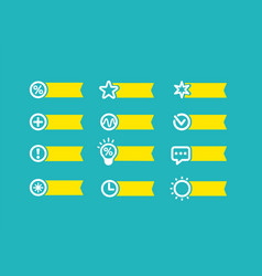 With yellow flag set of icons on a blue background vector