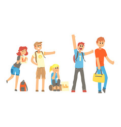 Young people travelling autostop collection vector