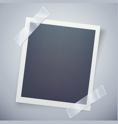 Retro photo frame attached with adhesive tape vector