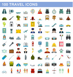 100 travel icons set flat style vector