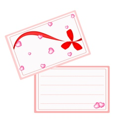 A White Valentine Card with Red Ribbon vector image vector image