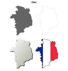 Cher centre outline map set vector