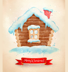 christmas vintage postcard with house vector image vector image