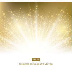 golden background sunbeam with gold glitter vector image