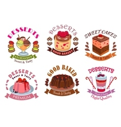 Bakery desserts pastry cakes emblem labels set vector