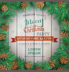 christmas winter frame on light wooden background vector image vector image