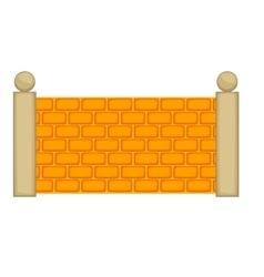 Concrete fence icon cartoon style vector