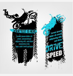flying motorcycle banner vector image vector image
