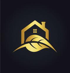 House leaf nature gold logo vector