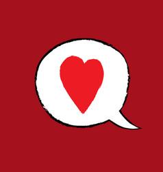 ink hand drawn love speech balloon object vector image