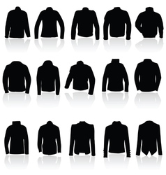 jacket for man and women in black silhouette vector image vector image