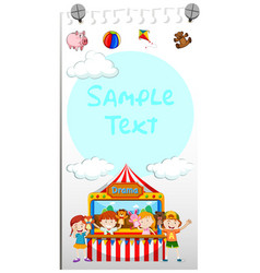 paper template with kids playing puppet vector image vector image
