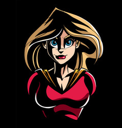 superheroine dark portrait vector image vector image