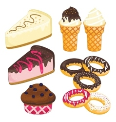 Sweet dessert set Cake ice cream donut cupcake vector image