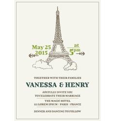 Wedding Invitation Card - Paris Theme vector image vector image