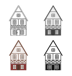 bavarian house icon in cartoon style isolated on vector image vector image