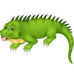 cute iguana cartoon posing with laugh vector image