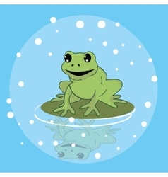 frog smile character above leaf in pond funny cute vector image vector image