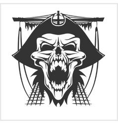 Skull pirate in hat vector image