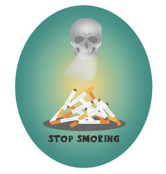 a mountain of smoking cigarettes with a skull vector image
