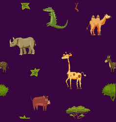 animals africa rhinoceros giraffe donkey crocodile vector image