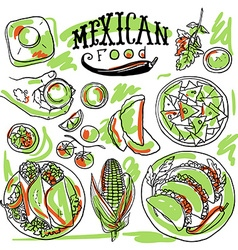 Beautiful hand drawn set of mexican food vector