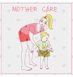 Beautiful mother with her child vector image