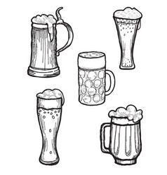 beer ware set beer mug and beer glass silhouette vector image