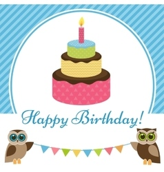 Birthday card with cake and owls vector image