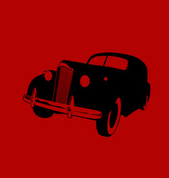 Black car on a hazy red background vector
