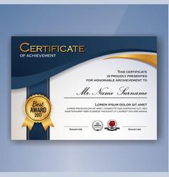 Blue and white elegant certificate achievement vector