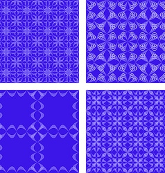 Blue seamless pattern background set vector