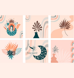 Boho background in earthy tone terracotta color vector