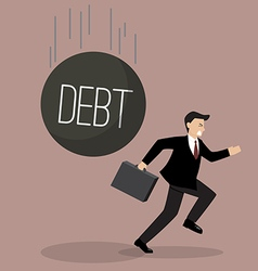 Businessman run away from heavy debt vector