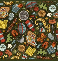 Cartoon cute hand drawn picnic seamless pattern vector