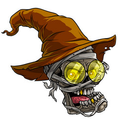 cartoon realistic scary mummy skull with hat vector image