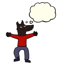 cartoon wolf man with thought bubble vector image