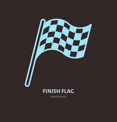 checkered flags line icon speed automobile vector image