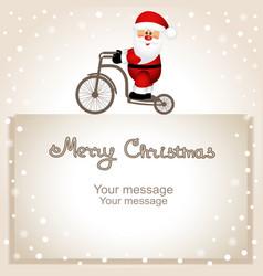 Christmas card santa claus on a bicycle vector