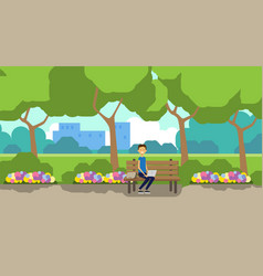 City park man holding laptop sitting wooden bench vector