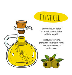 colorful hand drawn olive oil bottle with sample vector image