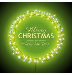 Congratulation to Christmas with green lights vector image